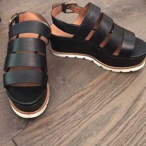 Caslon black leather wedge sandals
